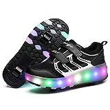 LED Light Up Single/Double Wheel Roller Skate Shoes for Boys Girls Kid(Black 2 wheel 28 M EU/11.5 M US Little Kid)