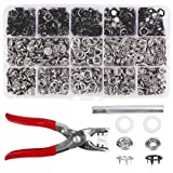 200 Sets Snap Fasteners Kit Tool, Metal Snap Buttons Rings with Fastener Pliers Press Tool Kit for Clothing (9.5mm, balck) (Color: Balck, Tamaño: 9.5mm)
