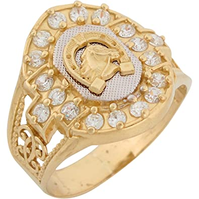 9ct Two Colour Gold White CZ Lucky Horseshoe Mens Ring