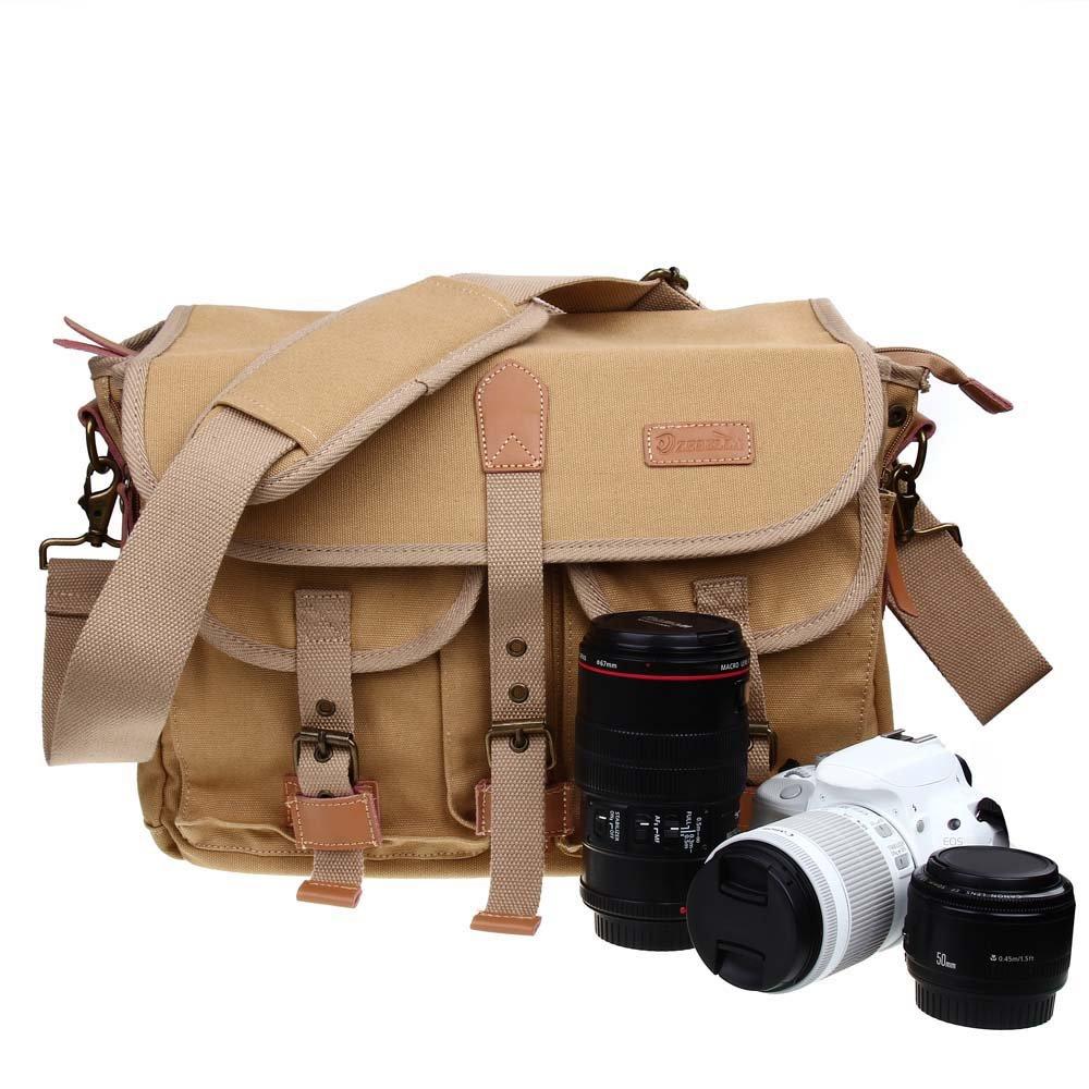 Zebella Casual Waterproof Canvas Shoulder Bag SLR DSLR Camera Case 0