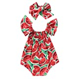 Aalizzwell Newborn Baby Girls Watermelons Printed Ruffle Bodysuit With Headband (18-24M, Watermelon) (Color: Watermelon, Tamaño: 18-24 Months)