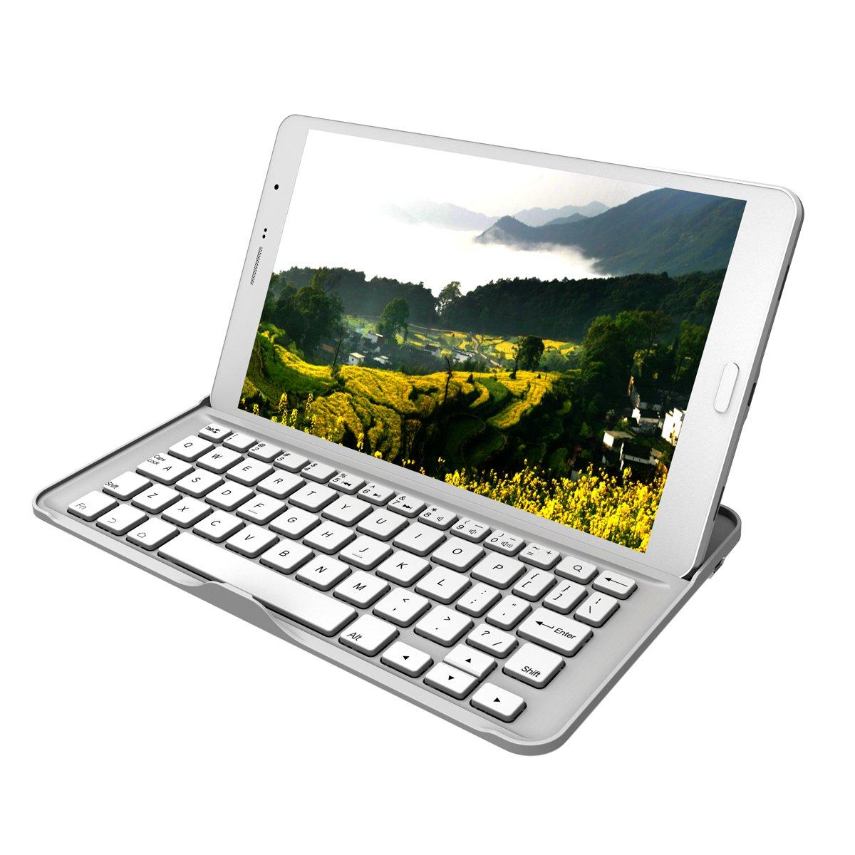 Yimidear® Nuevo caso ultra-delgado teclado delgado ligero de aluminio de Bluetooth para para Samsung Galaxy Tab sueño Pro 8.4 T320 / T325 Soporte y despierta la función (blanco)  Electrónica revisión y más información
