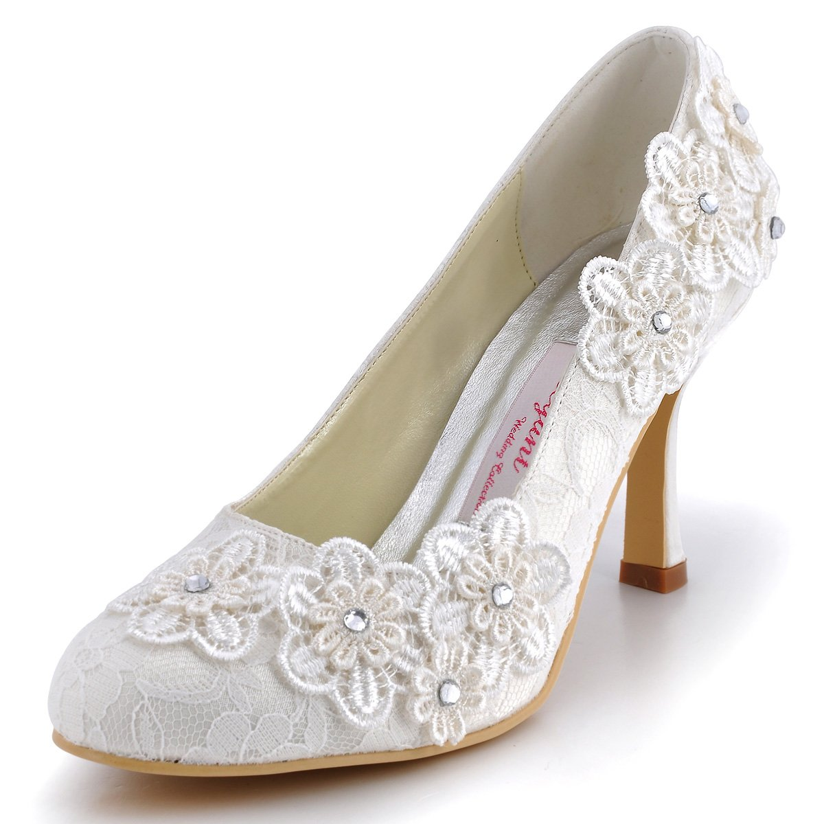 ElegantPark Women Vintage Closed Toe Pumps High Heel Flowers Lace Wedding Bridal Dress Shoes 0