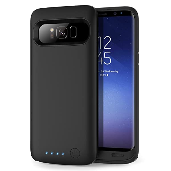 853372244 Galaxy S8 Battery case 6000mAh, HETP Protective Rechargeable External  Battery Pack for Samsung Galaxy S8 Charging Case Portable Backup Power Bank  ...