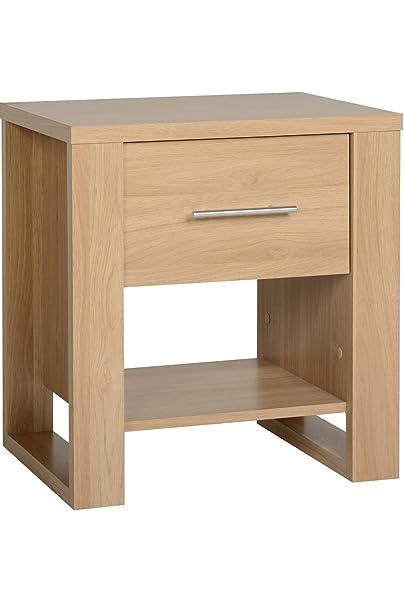 Kingston Euro 1 mesa Noche con un cajón chapado en madera de roble armario con estante