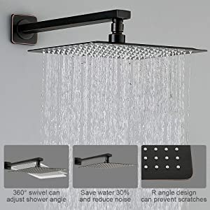 HOMELODY Shower Set, Bronze Shower System Wall Mounted with High Pressure Rainfall Shower Head, Handheld Shower Head and Shower Faucet Valve, Bathroom Rain Mixer Shower Combo Set (Color: Oil-Rubbed Bronze, Tamaño: 10''-Wall Mounted)