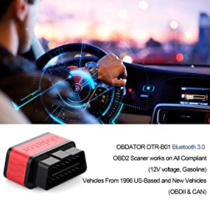 obdator Mini Bluetooth OBD2 Scanner ELM327 Automotive OBD OBDII Code Reader Car Check Engine Light Diagnostic Scan Tool for Android PC