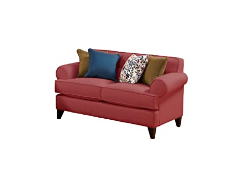 Furniture of America BCH-BONNIE-RED-L Province Chenille Loveseat, 65-Inch, Red Wine