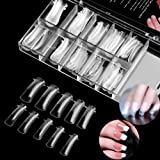 100PCS Clear Dual Nail System Form Full Cover Acrylic Nail Mold For UV Nail Art with Scale (Nail Mold#1) (Color: Nail Mold#1)