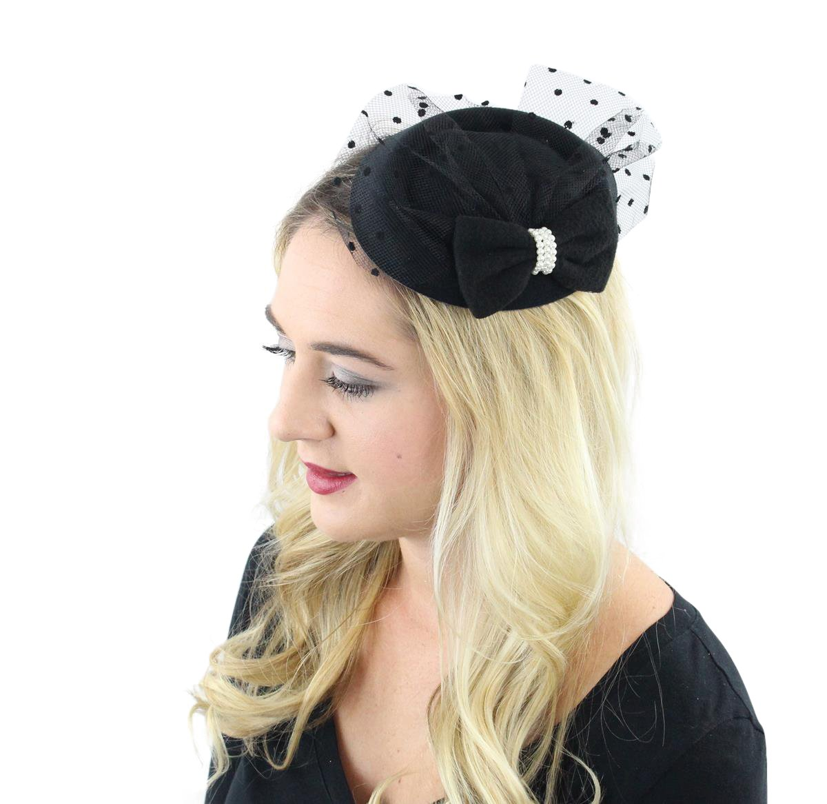 The Kate Pillbox Fascinator Hat with Hair Clip for Women 0