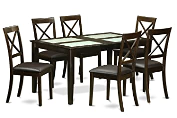 East West Furniture CABO7G-CAP-LC 7-Piece Dining Table Set