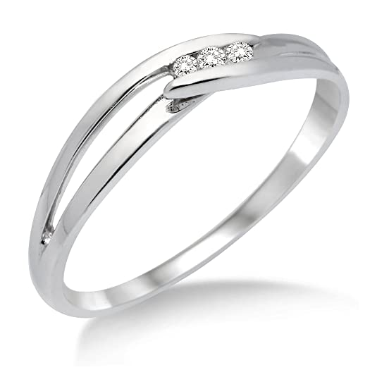 Miore MA940 9 ct White Gold Diamond Crossover Ring
