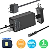 Surface Pro 2 Charger Surface Pro 1 Charger,48W 12V 3.6A Surface Power Supply Adapter for Microsoft Surface Pro 2 Surface Pro 1 Surface RT with 6Ft Power Cord and Carrying Pouch by KINGDO (Color: Black)