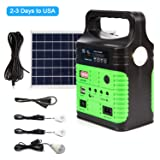 Portable Solar Generator Solar Panel,Included 3 Sets LED Lights,Solar Power Inverter,Electric Generator,Small Basic Portable Generator Kit,Emergency Power Supply Home & Camping (Color: Green, Tamaño: Solar Battery Chargers)