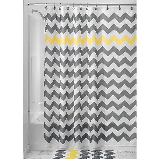 InterDesign Chevron Shower Curtain, 72 x 72-Inch, Gray/Yellow