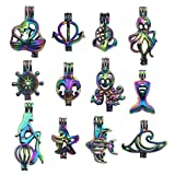 10pcs Mixed Shape Nautical Marine Life Rainbow Pearl Cage Bead Cages Pendants for Jewelry Making/Aromatherapy Essential Oil Scent Diffuser Locket Pendant m225 (Mixed No Duplicate) (Color: m225)
