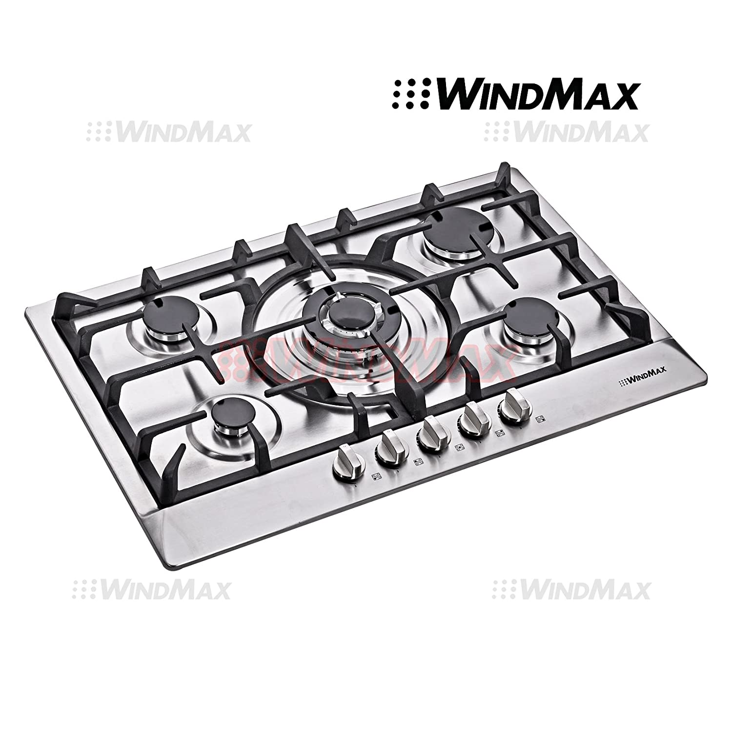 WindMax® Euro Style 30 in Stainless Steel 5 Burner Built-In Stoves NG LPG Gas Cooktops