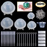 Resin Casting Molds, 145 Pcs Resin Crafts Mold Including Silicone Sphere Paperweight Molds Set,Screw Eye Pins,Disposable Plastic Cups,Stirrers,Droppers,Disposable gloves for Polymer Clay Resin Epoxy (Color: Molds-145a)