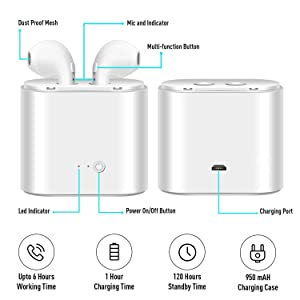 Cankepi Bluetooth headphones, Wireless Headsets Sport In-Ear with Mic Noise Canceling Mini Earbud HD Stereo Earphone, White (Color: White)