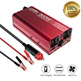 EBTOOLS Car Power Inverter, 500W/1000W Inverter 12V DC to 110V AC Car Converter with 2 AC Outlets and 2.1A USB ports for Laptop,Smartphone,Household Appliances in case Emergency, Storm and Outage