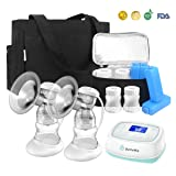 Electric Breast Pump with Tote, BelleMa S3 Pro Real Hospital Grade Double Breast Pump 2-motor, L/R Pumps Separate Control, 9 Suction Levels, Li-battery Memory Silent Breast Pump for Office/Home/Travel (Color: White-Bule(With Bag Set), Tamaño: Medium)