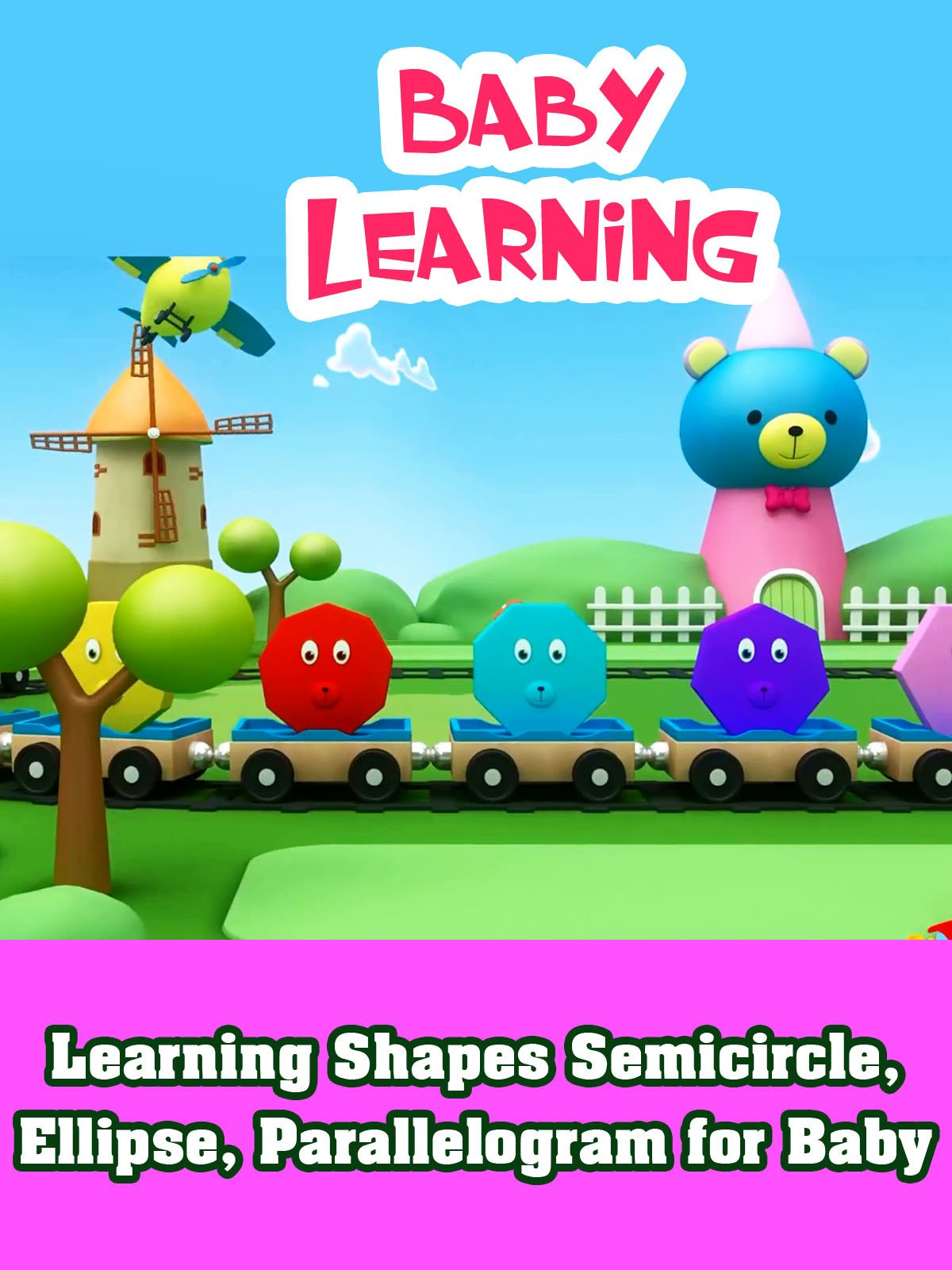 Learning Shapes Semicircle, Ellipse, Parallelogram for Baby