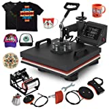 Mophorn Heat Press 15x15 inch 6pcs Heat Press Machine 1050W Multifunctional Sublimation Dual LED Display Heat Press Machine for t Shirts Swing Away Design (15x15Inch, 6IN1 Element) (Color: Black, Tamaño: 15x15INCH/6IN1)