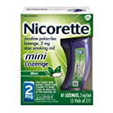 Mini Nicorette Nicotine Lozenge Stop Smoking Aid, 2 mg, Mint Flavored Smoking Cessation Product, 81 Count (Color: green, Tamaño: 2 mg, 81 Count)