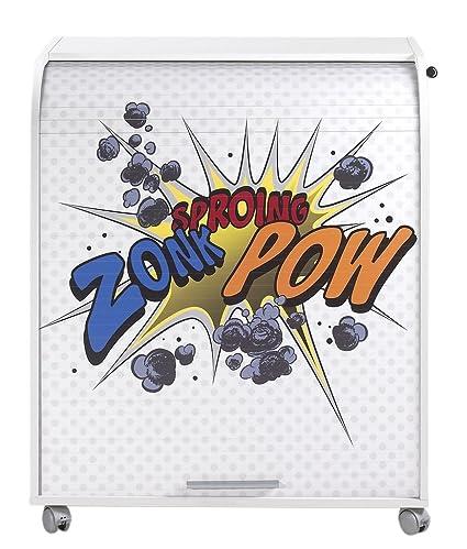 Simmob MUST095BL400 Zonk Pow mobile informatica a 400-Tenda con rotelle, motivo: legno, 53,2 x 79,2 x proprietà al 93,8 cm