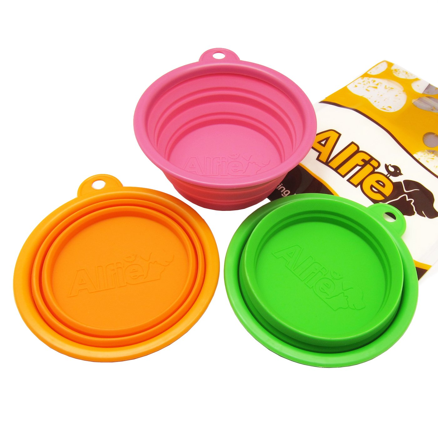 Alfie Pet by Petoga Couture – Set of 3 Ros Silicone Pet Expandable/Collapsible Travel Bowl – Size: 1.5 Cups
