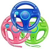 Jadebones 3pcs Blue Pink Green Mario Kart Steering Wheel With Wrist Strap for Nintendo Wii