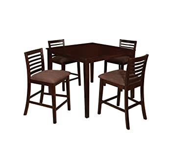 Furniture of America Ramone 5-Piece Counter Height Dining Table Set, Espresso Finish