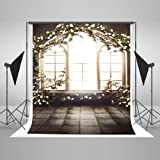 Kate 6.5x10ft Retro Window Photography Backdrop Floral Wall Photo Backdrop Wedding Party Decoration Background (Color: 6560, Tamaño: 6.5x10ft)