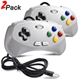 2 Pack USB Classic Controller for Super NES SNES, miadore Retro USB Gaming Controller Gamepad Joystick for Windows PC MAC Linux