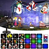 Christmas Projector Lights 2-in-1,Decorative Water Wave Light Waterproof Outdoor Indoor Landscape Lights for Xmas Wedding Birthday Party,12 Slides 10 Colors(Colorful) (Color: Colorful)