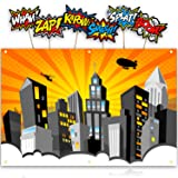 Bigtime Signs XL Superhero Backdrop with 6 Comic Action Word Photo Booth Props - Compliments any Super Hero Birthday Party - 4 foot x 6 ft - Cityscape Back Drop Banner Decoration Hangs on Wall Easily (Color: Orange)