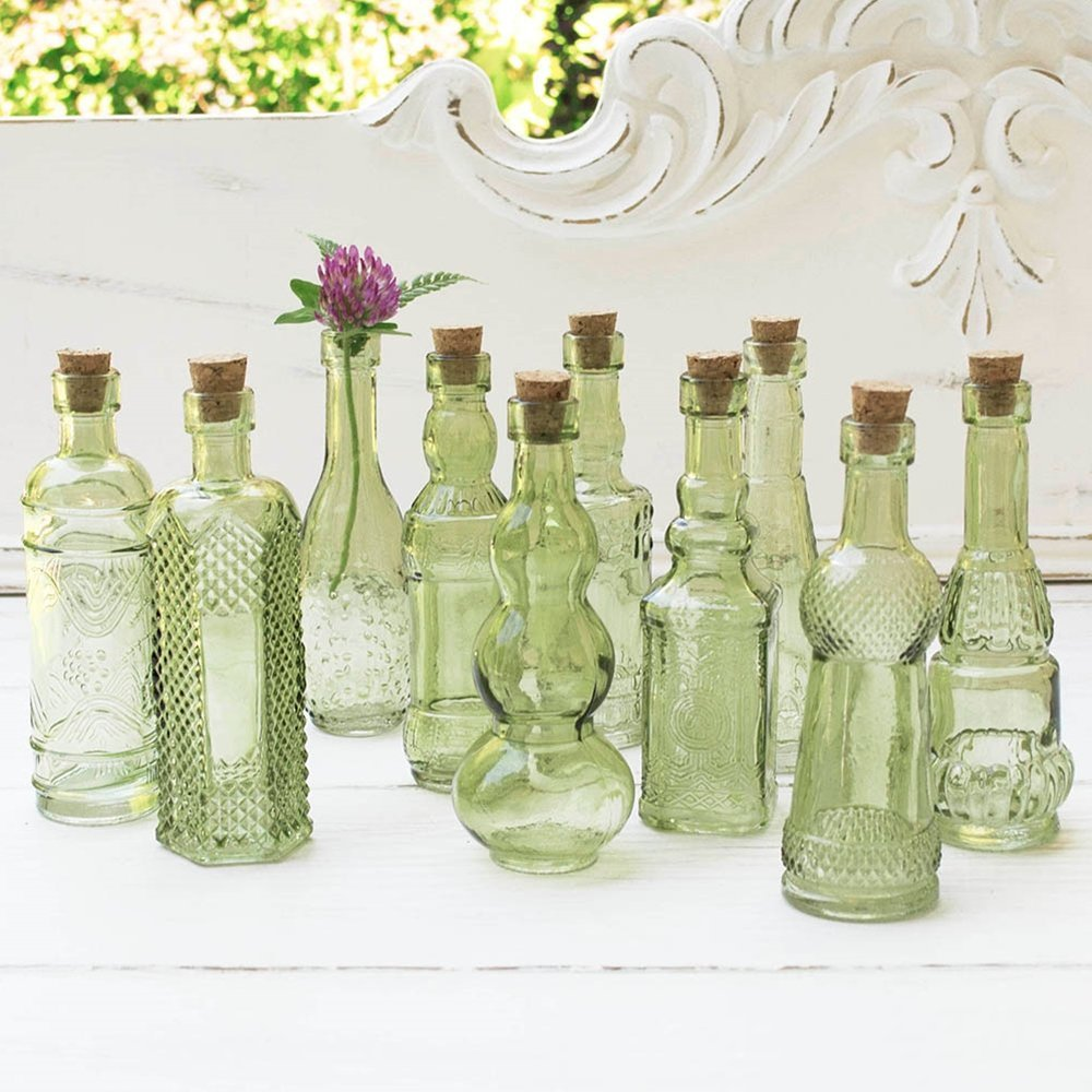 Vintage Glass Bottles with Corks, Bud Vases, Assorted Shapes, 5 Inch Tall, Mini Vases, Set of 10 Bottles, (Green) 0