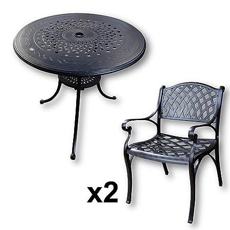 Lazy Susan - ANNA 80 cm Runder Gartentisch mit 2 Stuhlen - Gartenmöbel Set aus Metall, Antik Bronze (KATE Stuhle)