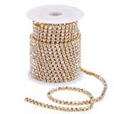 BENECREAT 10 Yard 4mm Crystal Rhinestone Close Chain Clear Trimming Claw Chain Sewing Craft About 1965pcs Rhinestones - Crystal (Gold Bottom) (Color: Crystal (Gold Bottom), Tamaño: 4mm)