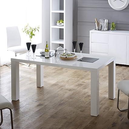 White High Gloss Rectangular 6 Seater Dining Table
