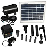 Sunnydaze Outdoor Solar Pump and Panel Fountain Kit with Battery Pack and LED Light, 132 GPH, 56-Inch Lift (Color: Black)