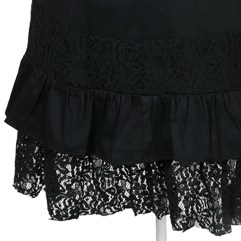 Women's Steampunk Gothic Clothing Vintage Cotton Lace Skirts Black Gypsy Hippie 4