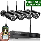 ?2019 Update? OOSSXX HD 1080P 8-Channel Wireless Security Camera System,4 pcs 720P 1.0 Megapixel Wireless Weatherproof Bullet IP Cameras,Plug Play,70FT Night Vision,P2P,App, No Hard Drive (Color: Full HD 8 Channel 1080P System+ 4Pcs 720P Cameras + NO HDD)