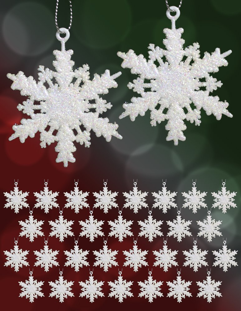 Set of 64 Mini Snowflake Christmas Ornaments Winter Wedding Favor Birthday Party Theme Decoration for Girls - Iridescent White Glitter - 2.5 Inch