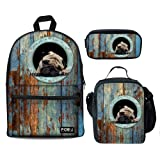 Bigcardesigns Personalized Animal Backpack School Bag Lunch Bag Pencil Case 3 PCS with Pug Design (Color: Blue Pug - 3 pcs/set, Tamaño: Medium)