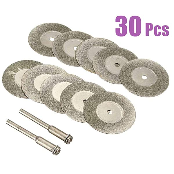 Lukcase 30 Pieces Diamond Cutting Wheel Cut Off Discs Coated Rotary Tools W/Mandrel 22mm for Dremel (Tamaño: 30 Pack(F:22mm))