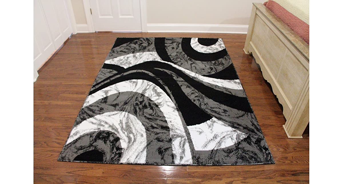 "Eldorado Modern Design Printed Swirls Area Rug, Luxurious, Elegant, and Fashionable Area Rug 53""X72"" (Black and Gray)"