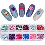 300pcs Multi Colors Flat Back Nail Flowers 12 Grids Nail Charms Jewelry Accessories Professional Materials Supplies