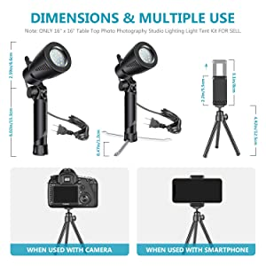 Neewer 16x16 inches Table Top Photography Studio Lighting Light Tent Kit with Foldable Shooting Box, (2) Led Light, Mini Tripod, Phone Holder, 4 Color Backdrops for Product Shooting Advertising (Color: 40cm+LED Light)