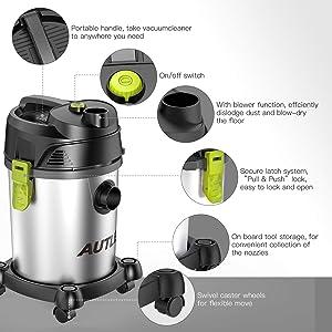 AUTLEAD Shop Vac 5.5 Gallon Steel Tank 5.5 Peak HP wet dry vacuum with Attachments, WDS03A (Color: Black, Tamaño: 5.5 gal)